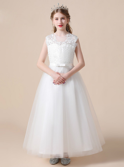 A-Line White Tulle Lace Appliques Flower Girl Dress