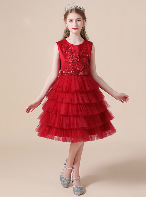 Burgundy Tulle Tiers Appliques Sequins Knee Length Flower Girl Dress