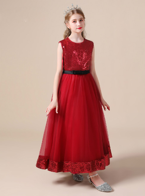 A-Line Burgundy Tulle Sequins Long Flower Girl Dress With Bow