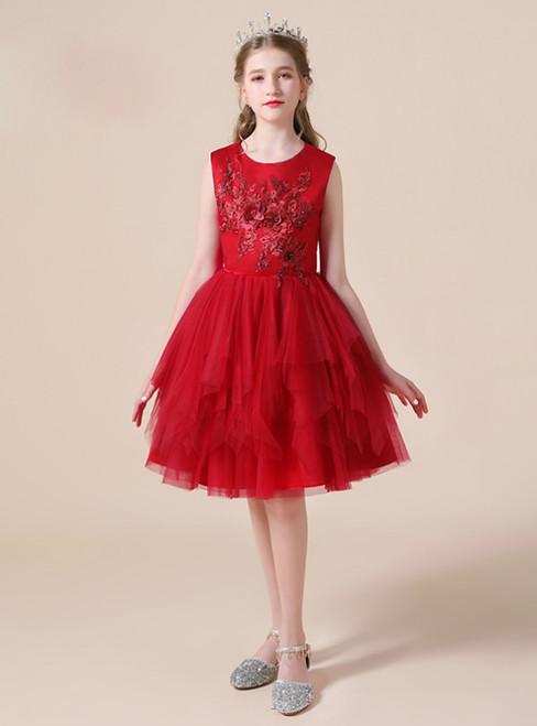 A-Line Burgundy Tulle Appliques Short Knee Length Flower Girl Dress