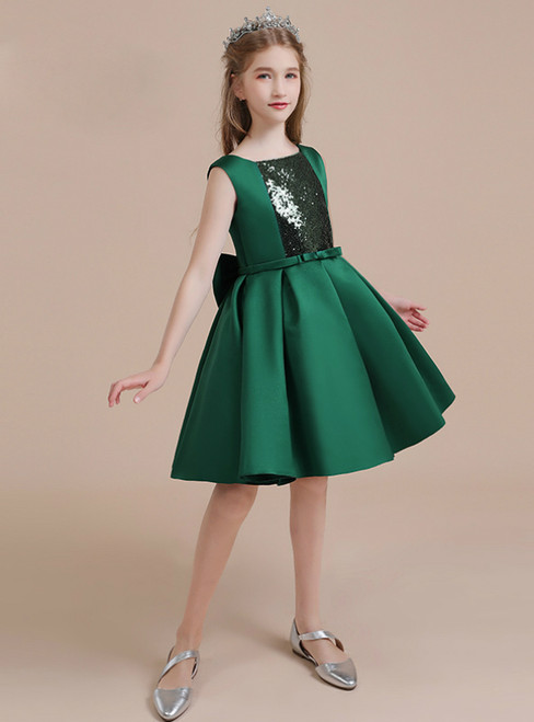 Drak Green Satin Sequins Short Flower Girl Dress With Bow