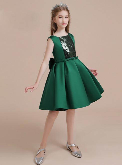Drak Green Satin Sequins Short Flower Girl Dress With Bow
