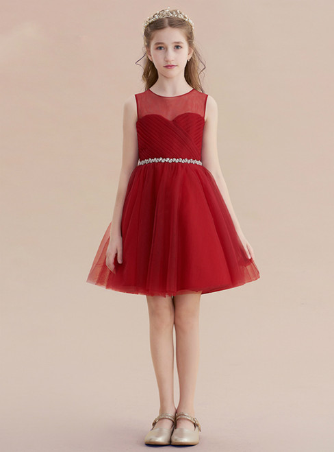 A-Line Burgundy Tulle Pleats Beading Sash Short Flower Girl Dress
