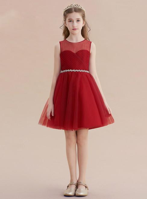 A-Line Burgundy Tulle Pleats Beading Sash Short Flower Girl Dress