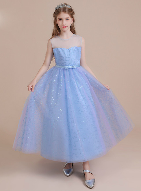 Blue Tulle Sequins Sleeveless Bow Flower Girl Dress