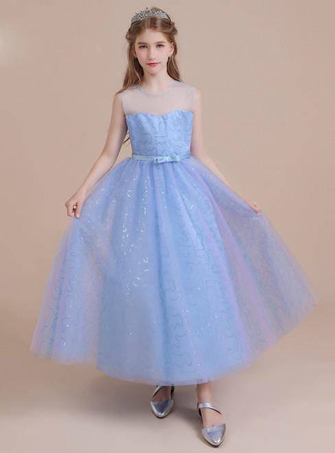 Blue Tulle Sequins Sleeveless Bow Flower Girl Dress