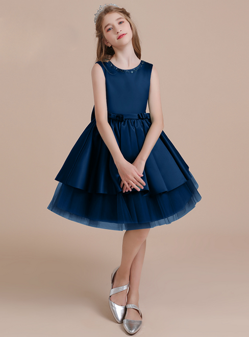 A-Line Navy Blue Tulle Satin Beading Flower Girl Dress