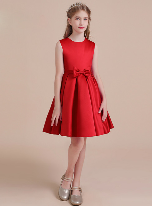 Simple Red Satin Knee Length Bow Flower Girl Dress