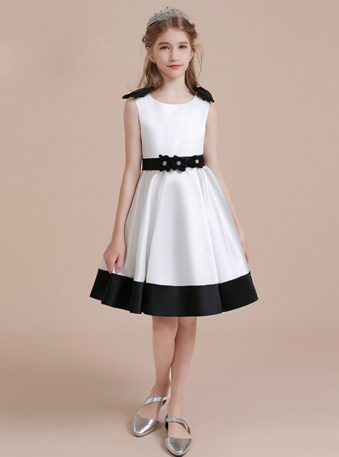 A-Line White Satin Flower Knee Length Flower Girl Dress