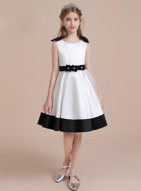 A-Line White Satin Flower Knee Length Flower Girl Dress