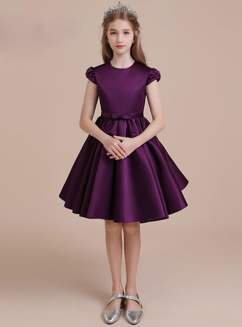 A-Line Dark Purple Cap Sleeve Flower Girl Dress With Bow