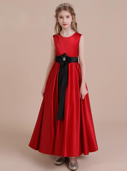 A-Line Red Satin Scoop Flower Girl Dress With Black Sash