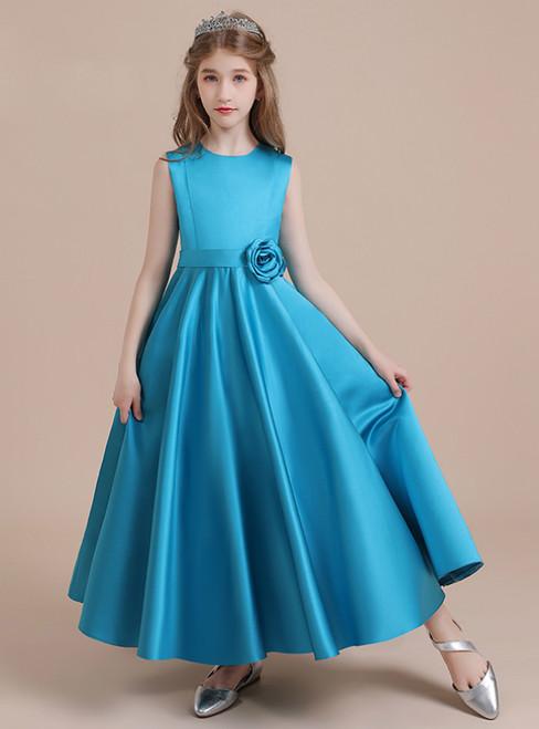 Blue Satin Sleeveless Flower Girl Dress With Flower