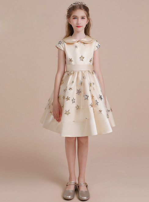 A-Line Champagne Satin Cap Sleeve Sequins Short Flower Girl Dress