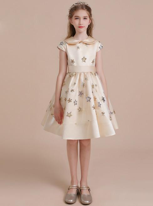 A-Line Champagne Satin Cap Sleeve Sequins Short Flower Girl Dress