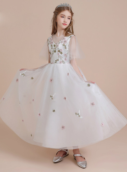 A-Line White Tulle Embroidery Flower Girl Dress