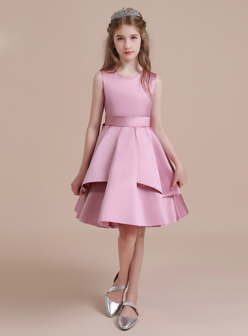 A-Line Pink Satin Scoop Knee Length Flower Girl Dress