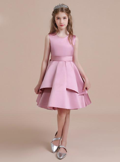 A-Line Pink Satin Scoop Knee Length Flower Girl Dress