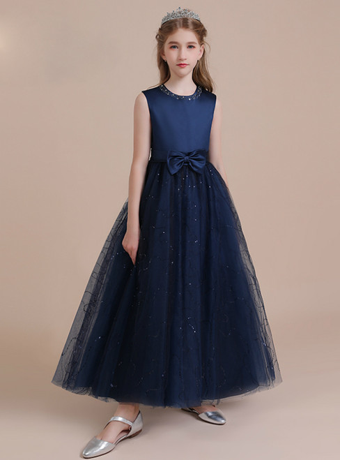 Navy Blue Tulle Sequins Beading Flower Girl Dress