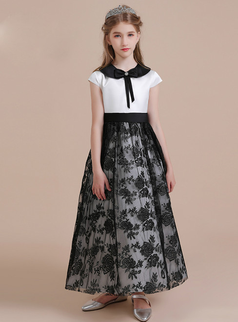A-Line Black Tulle Lace White Satin Cap Sleeve Flower Girl Dress