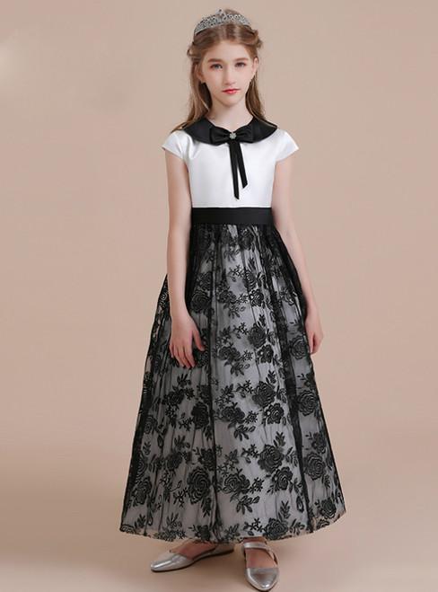 A-Line Black Tulle Lace White Satin Cap Sleeve Flower Girl Dress