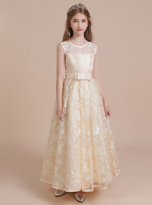A-Line Yellow Lace Long Flower Girl Dress With Bow