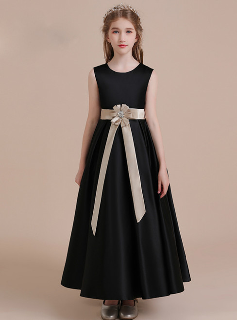 A-Line Black Satin Scoop Flower Girl Dress With Champagne Sash