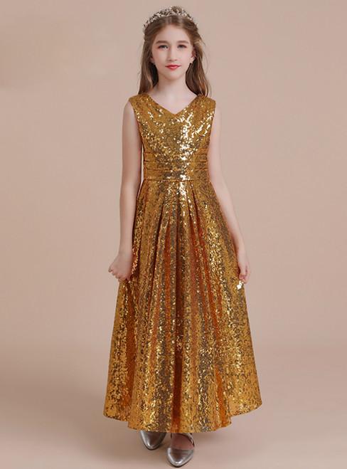 A-Line Gold Sequins V-neck Pleats Long Flower Girl Dress