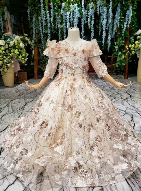 Champagne Ball Gown Tulle Sequins Appliques Short Sleeve Flower Girl Dress