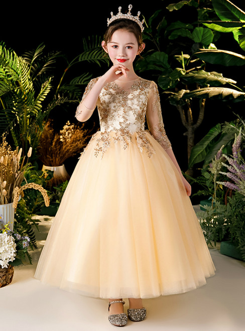 In Stock:Ship in 48 Hours Champagne Gold Tulle Appliques 3/4 Sleeve Flower Girl Dress