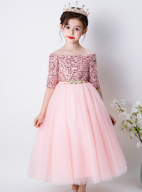 In Stock:Ship in 48 Hours Pink Tulle Sequins off the Shoulder Flower Girl Dress