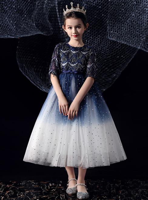 In Stock:Ship in 48 Hours Navy Blue Tulle Tassels Sequins Flower Girl Dress