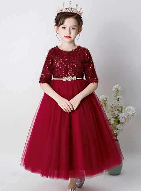 In Stock:Ship in 48 Hours Burgundy Tulle Seuqins Short Sleeve Flower Girl Dress