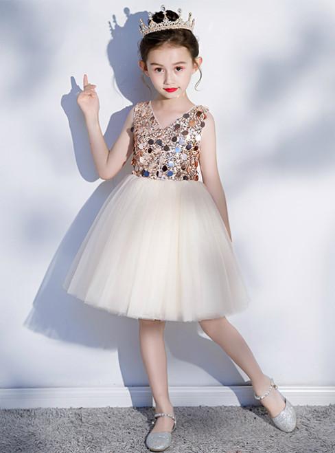 In Stock:Ship in 48 Hours Champagne Tulle Seuqins V-neck Short Flower Girl Dress