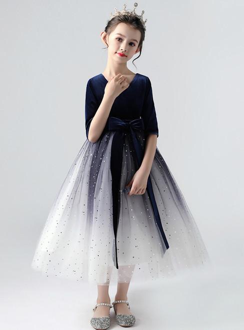 In Stock:Ship in 48 Hours Tulle Velvet Half Sleeve Flower Girl Dress