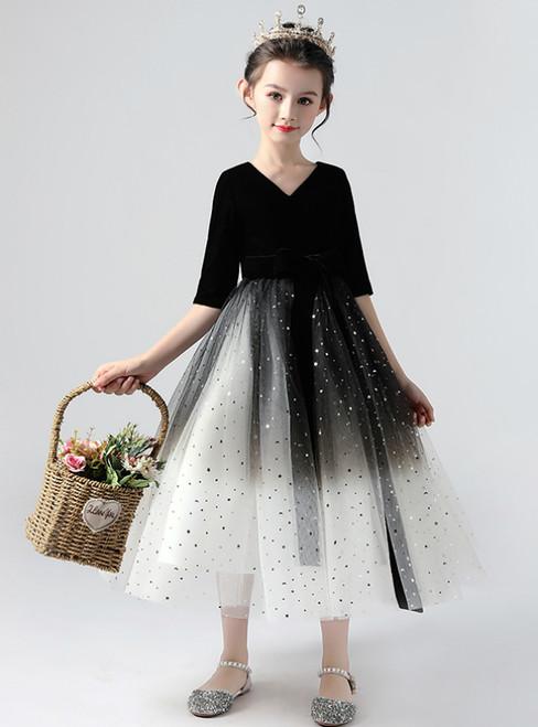 In Stock:Ship in 48 Hours Black Tulle Velvet Half Sleeve Flower Girl Dress