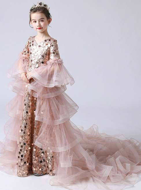 In Stock:Ship in 48 Hours Pink Sequins Long Sleeve Flower Girl Dress With Removable Train
