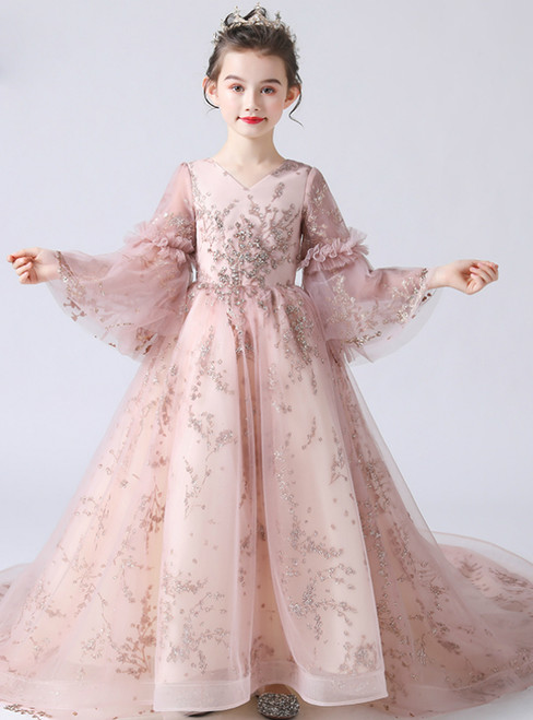 In Stock:Ship in 48 Hours Pink Tulle Seuqins V-neck Flower Girl Dress