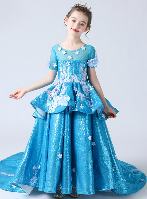 In Stock:Ship in 48 Hours Blue Sequins Short Sleeve Appliuqes Flower Girl Dress