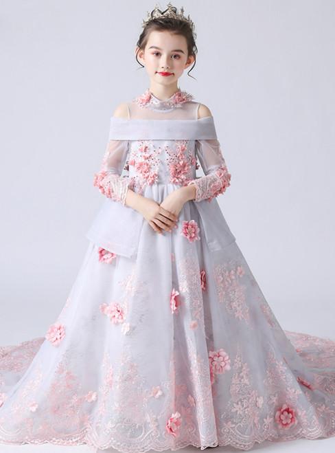 In Stock:Ship in 48 Hours Tulle High Neck Long Sleeve 3D Flower Girl Dress