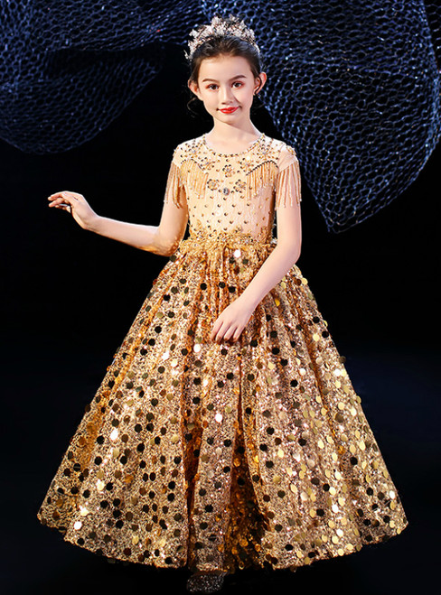 In Stock:Ship in 48 Hours Gold Sequins Beading Flower Girl Dress