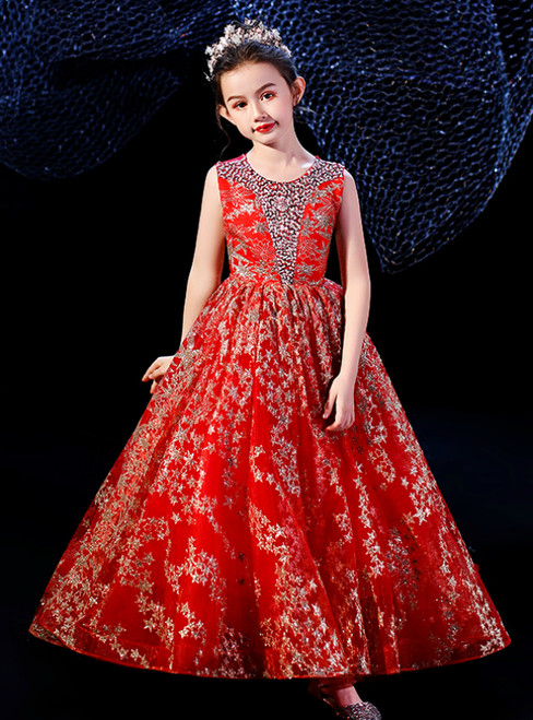 In Stock:Ship in 48 Hours Red Tulle Seuqins Beading Flower Girl Dress