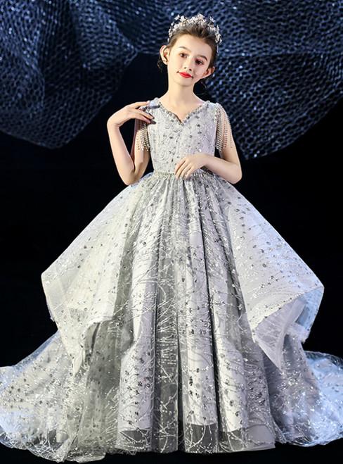 In Stock:Ship in 48 Hours Silver Gray Tulle Sequins V-neck Flower Girl Dress