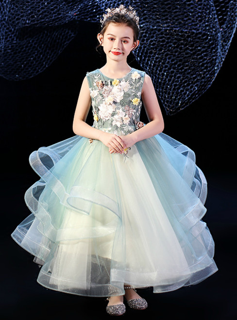 In Stock:Ship in 48 Hours Fashion Green Tulle Appliques Flower Girl Dress