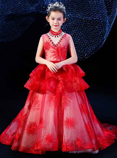 In Stock:Ship in 48 Hours Red Tulle Sequins High Neck Flower Girl Dress