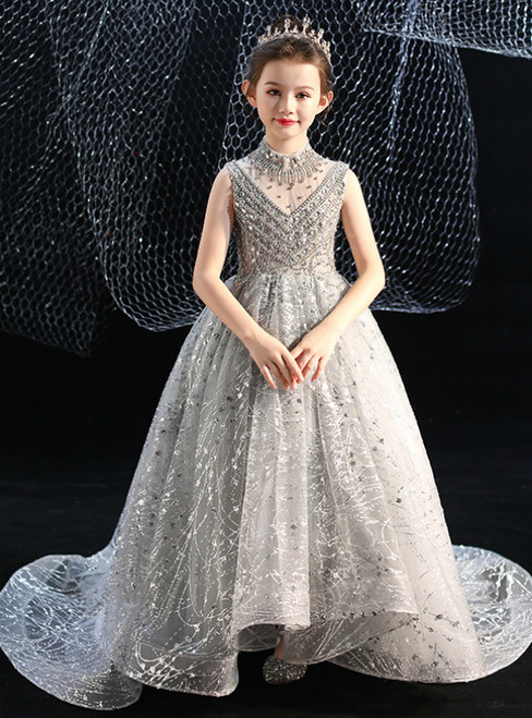 In Stock:Ship in 48 Hours Silver Gray Tulle Sequins Crystal Flower Girl Dress