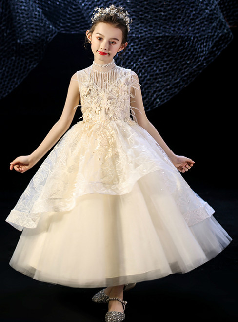 In Stock:Ship in 48 Hours Champagne Tulle Lace Appliques Feather Flower Girl Dress