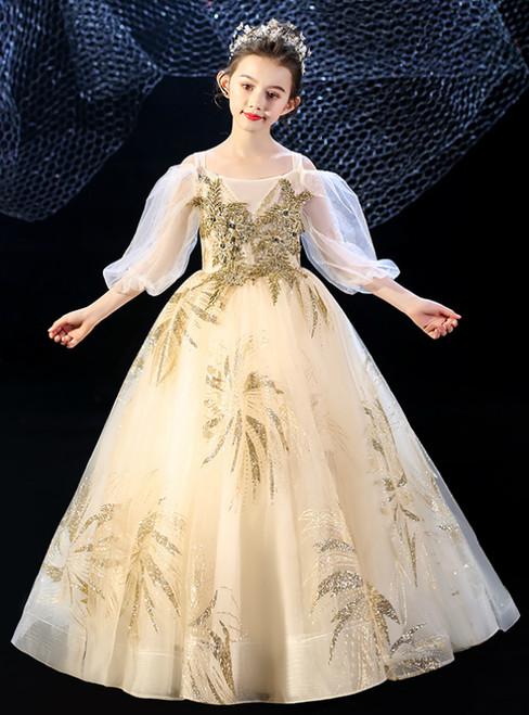 In Stock:Ship in 48 Hours Champagne Tulle Straps Long Sleeve Flower Girl Dress
