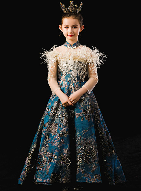 In Stock:Ship in 48 Hours Blue Embroidery High Neck Long Sleeve Flower Girl Dress