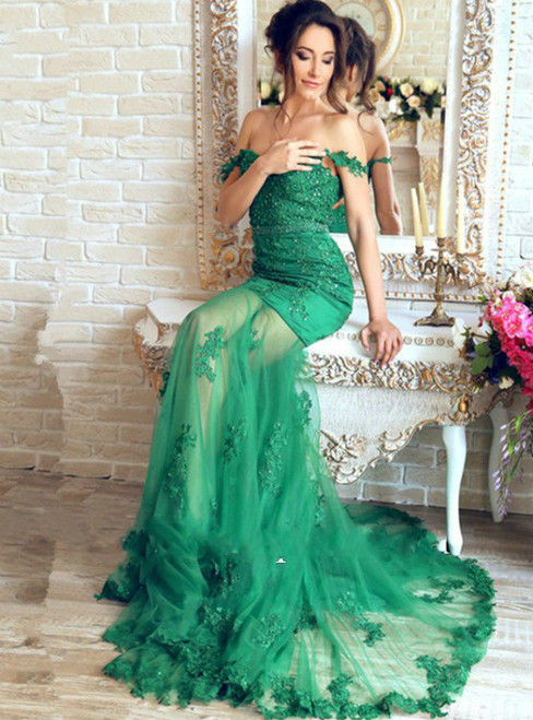 Mirusponsa 2017 Beautiful Emerald Green Lace Mermaid Evening Dresses